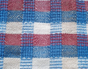 Blue Plaid Collection, Tea Towel #1, Blue, Plum, White - Buffalo Check