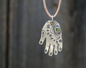 Reserved For Julie.....Mandala Hand Charm Pendant Necklace . Natural Green Peridot . Hand Stamped . Handmade . Rustic . Hand Forged . Relics