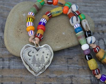 Sterling Heart & Trade Bead Necklace . Handmade . Rustic . Hand Forged. Hand Stamped . Antique Trade Bead . Relics