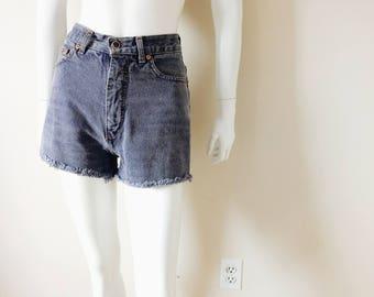 Vintage Subtle Blue Denim High Waist Shorts