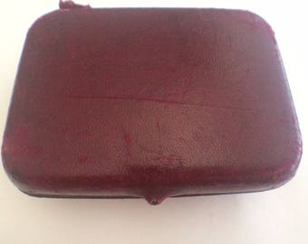 Antique Cranberry Leather Earring Box Buenos Aries circa 1940