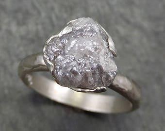 Rough Diamond Engagement Ring Raw 14k White Gold Ring Wedding Diamond Solitaire Rough Diamond Ring byAngeline 0650