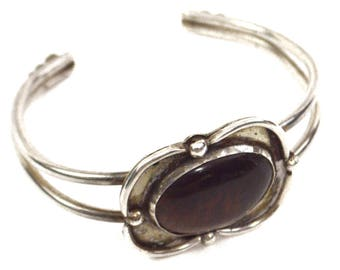 Vintage 80s Native Maroon Stone Signed Bracelet