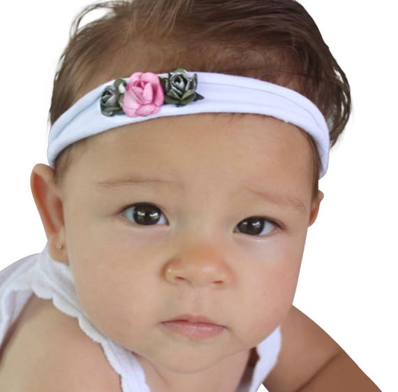 Headband for Babies, White Headband, Flower Headband, Flower Headpiece, Baby Headband, Pink Headband, Flower Headband, Flower Headband Baby,