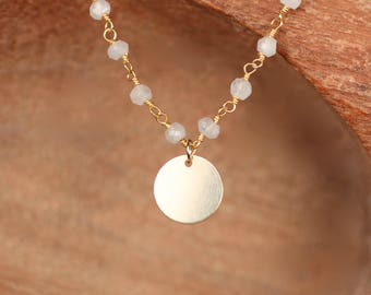Moonstone beaded necklace - gold disc necklace - wedding necklace - june birthstone -