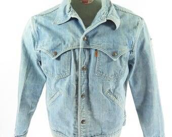 Vintage 80s Levis Strauss Denim Jacket Mens 44 or Large Orange Tab [H77P_2-4]