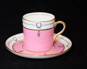 Antique Pink Aynsley Demi Tasse Tea Cup and Saucer, Art Deco Pink Tea Cup, English Bone China Tea Set, Bridal Tea Party, Antique Tea Set