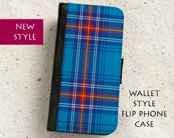iPhone Case (all models) - Scottish Tartan - Wallet style flip case -  Samsung Galaxy S4,S5,S6,S7Edge, Note5,S8,S8Plus & more