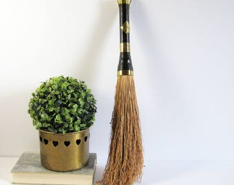 """Vintage Broomcorn Hand Broom with Leather and Brass Handle - Brass Fireplace Tools - 18"""" Handmade Broom - Brass Home Decor - Witches Broom"""