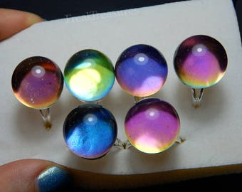 Galaxy orb resin adjustable hypoallergenic ring color shifting hologram, iridescent, holo crystal ball