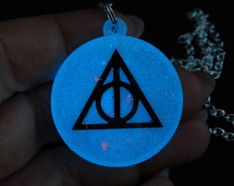 Magical glow in the dark Hallows resin iridescent necklace