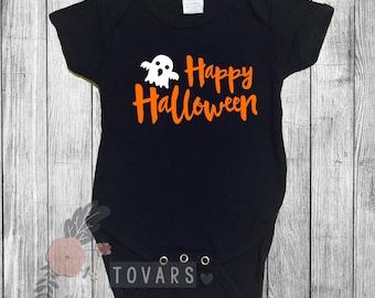 HAPPY HALLOWEEN shirt Halloween Shirt- Ghost Shirt- Kids Halloween Shirt- Baby Halloween Shirt Ghost bodysuit
