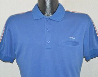 80s 2 Plus 2 Blue Striped Polo Shirt Medium