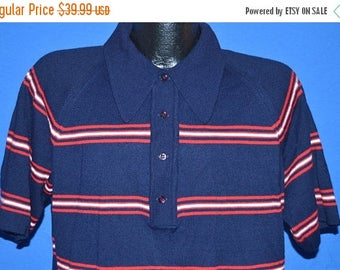 XMAS in JULY SALE 70s Cotlers Striped Polo Sweater Shirt Medium