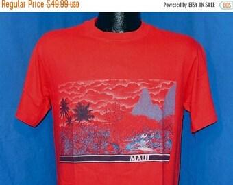 ON SALE 80s Maui Hawaii Landscape Red Vintage t-shirt Medium