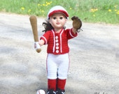 "Baseball / Softball Uniform - PDF pattern ONLY - 18"" Doll, Doll Clothes, crochet, dress up, Jersey, Pants, Glove, Bat Ball, Socks. Cleats"