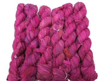 SALE 50g Recycled Sari Silk Ribbon, Fuschia