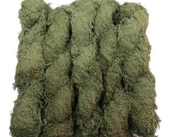 SALE New! Vegan Fuzzy Cotton Fringe Yarn, Khaki