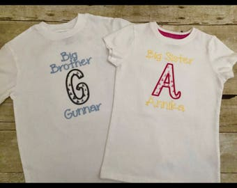 Personalized big brother and big sister shirt. Personalized big sister shirt. Personalized big brother shirt. Personalized sibling shirt set