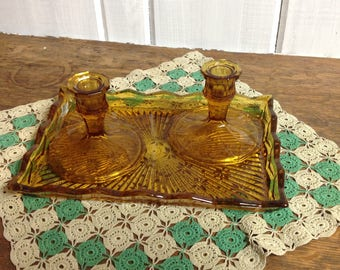 Pair of Vintage Amber candlestick holders