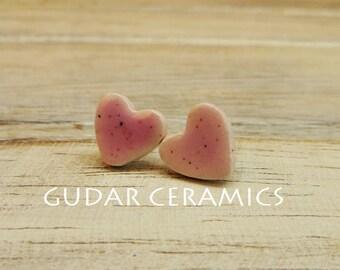 Unique Handmade Ceramic Heart Stud Earrings Pink