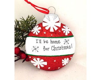 FREE SHIPPING Red Christmas Ball with Snowflakes Personalized Christmas Ornament / First Christmas / Child's Ornament / Personalized Gift