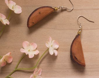 Wooden Earrings, Long Wooden Earrings, Wood Slice Earrings, Wood Earrings, Wooden Jewelry, Wood Sliver Earrings, Natural Wood Earrings