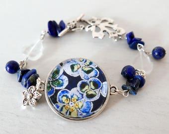 Navy Bracelet, Blue Flowers Bracelet, Bracelet with Floral Art Print, Lapis Lazuli Bracelet, Charm Bracelet, Navy Floral Art Bracelet