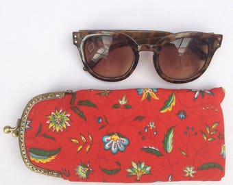 Red Floral Cotton Print Protective Padded Glasses Case with Gold Snap Fastening.