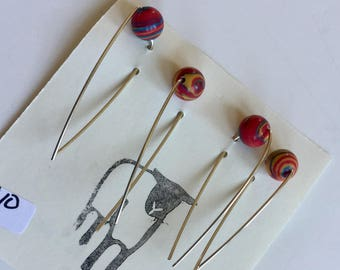 Weaving markers with sterling silver wire and beads, weaving measuring tool, set of 4