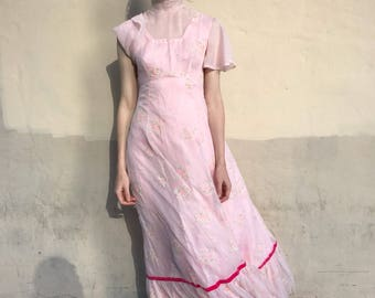 1970's Sheer Floral Overlay Pink Maxi