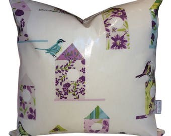 Oil Cloth Cushion Cover made in Aviary Design Birds  - Outdoors or Inside