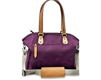 Convertible Canvas Leather Large Tote, Sturdy, Stand Alone, Can Worn as A Tote Bag, Messenger Bag And Backpack.