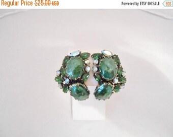 Green Glass & Rhinestone Large Vintage Clip Back Earrings High End