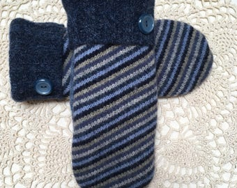 Blue striped wool mittens-Upcycled-recycled warm blue stripe felted wool mittens-made from sweaters