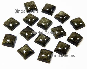 10 Pcs Natural Gold Sheen Obsidian Square Shape Smooth Calibrated Cabochon Loose Gemstone