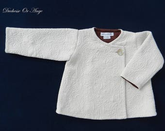 Coat child cream damask - 3 years
