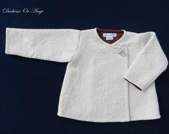 Coat child cream damask - 3 years