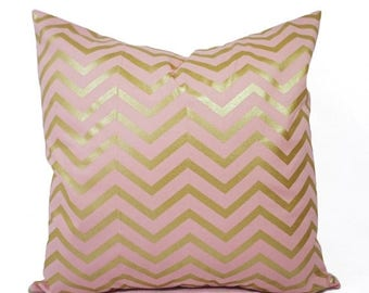 15% OFF SALE Two Metallic Gold Pillow Covers - Pink and Gold Pillow Cover - Decorative Pillow - Chevron Pillows - Nursery Pillow - 16x16 18x
