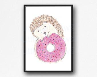 Hedgehog Print Hedgehog Eating a Donut Watercolor Painting Animal Art Hedgehog Drawing Print Hedgehog Lover Art Donut Art Kitchen Wall Art
