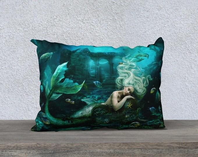 mermaid siren fantasy cushion cover