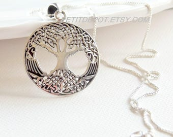 Large Tree Necklace Sterling Silver Celtic Pendant Tree of Life Pendant Large Celtic Knot Family Tree Necklace Medallion