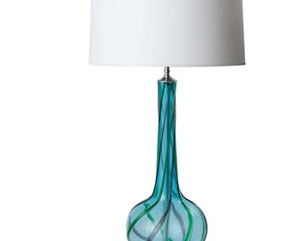 Vintage Murano Glass Table Lamp w/ Lucite Base, Cerulean Blue, Shade not Included, Newly Rewired