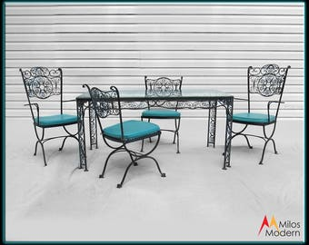 woodard cast iron patio furniture set 6 pieces table u0026 chairs black turquoise