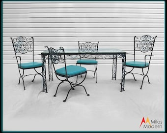 woodard cast iron patio furniture set 6 pieces table u0026 chairs black turquoise - Cast Iron Patio Furniture