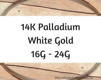 14K Palladium White Gold Wire, 16 18 20 22 24 Gauge, Round, Dead Soft, 14K Solid White Gold Wire
