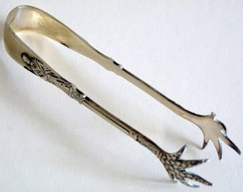 Vintage Decorative Sugar Tongs - Silver Plated