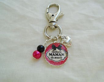 Best MOM in the world cabochon bag charm