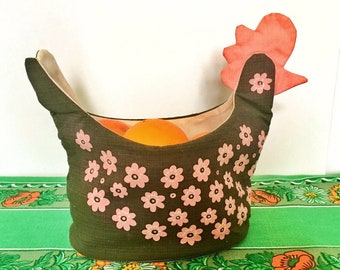 Vintage fabric hen easter for storage. Floral print Swedish retro fabric 50s kitchen storage mod floral pattern brown and pink colors