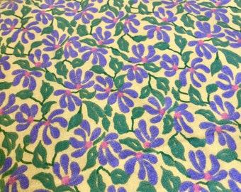 Swedish vintage fabric 60s floral print Retro fabric Scandinavian design purple yellow vintage fabric Quilting fabric upholstery textile